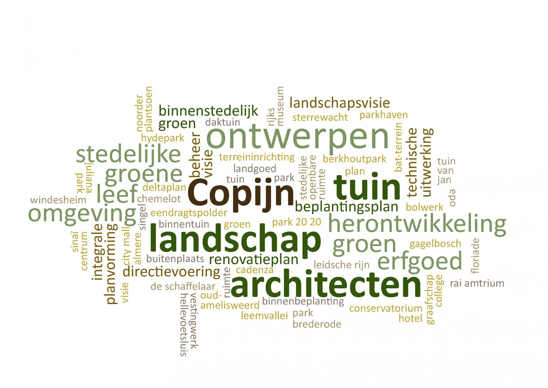 Copijn Tuin- en Landschapsarchitecten ontwerpt nieuwe en bestaande landschappen. Wij maken plannen voor een herkenbare, gezonde en groene leefomgeving. Onze ideeën en ontwerpconcepten zijn geworteld in een lange traditie van vakmanschap, kennis en innovatie en bieden creatieve oplossingen voor actuele vraagstukken.