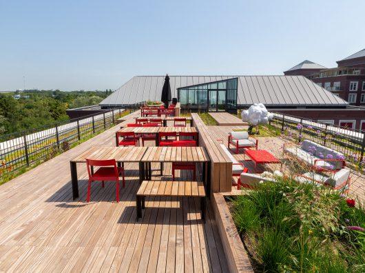 Haarlemmerhof Kennedy van der Laan Daktuin Copijn overzicht terras en kunstwerk