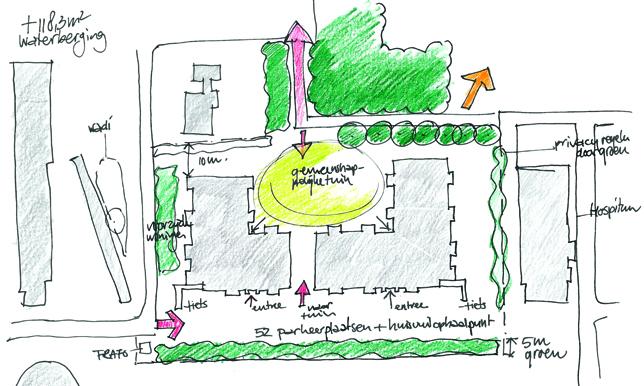 schets ontwerp tuin Rijnweide Vleuten